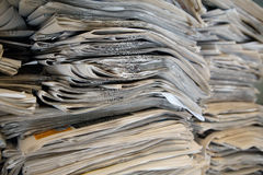 Pile of Newspapers. Pile of used newspapers stocked, printed media are actually reducing or leaving their presence on printed medias and focusing on digital Royalty Free Stock Photos