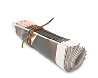 Pile of newspapers on white background Royalty Free Stock Photography