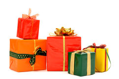Pile of nicely wrapped presents. Stock Photo