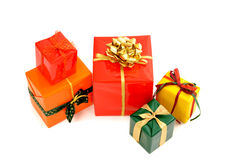 Pile of nicely wrapped presents. Royalty Free Stock Photo
