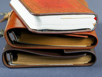Pile of notebooks in leather covers Royalty Free Stock Photo
