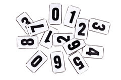 Pile of numbers on metal plate isolated on white Royalty Free Stock Photos
