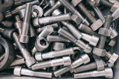 Pile of nuts and bolts Stock Photo