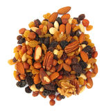 Pile of nuts and raisins Stock Photography