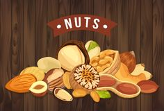 Nut pile as banner with kernel and shell, sign. Pile of nuts for shop sign or market banner, store sign or vegetarian restaurant badge. Healthy nutrition and Stock Images