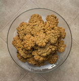 Pile of oatmeal cookies on dish top view Stock Image