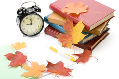 Pile Of Books And Autumn Leaves Stock Photography