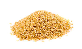 Pile Of Brown Rice On White Background Stock Image