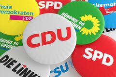 Free Pile Of Buttons With The Logo Of The Political Parties CDU, CSU, SPD, FDP, AfD, The Left And The Greens, 3d Illustration Stock Photos - 131864403