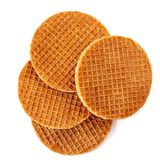Pile Of Caramel  Round Dutch Waffles Isolated On White Background. Top View Stock Photography