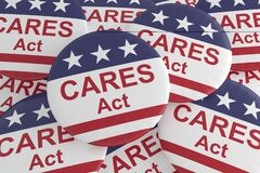 Free Pile Of CARES Act Buttons With US Flag, 3d Illustration Stock Images - 177070124