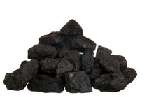 Pile Of Coal On White Background Stock Photography