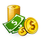 Pile Of Coins With Dollar Stock Photography
