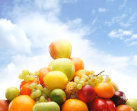 Pile Of Fresh And Tasty Fruits And Vegetables Isolated On White Stock Photos