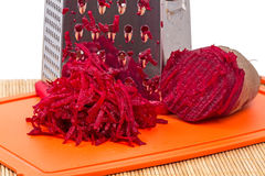 Pile Of Grated Red Beets And Grater Closeup Stock Photo