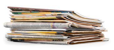 Free Pile Of Newspapers On White Background Stock Photography - 117970302