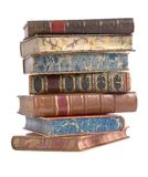 Pile Of Old Leather Bound Books Stock Images