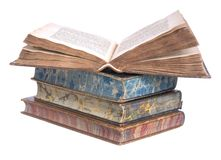 Pile Of Old Leather Bound Books Royalty Free Stock Photos
