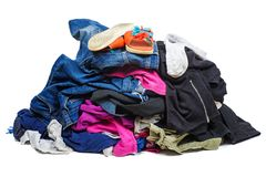Pile Of Old, Used Clothes Isolated On White Stock Photo
