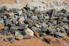 Free Pile Of Rocks I.E. Lithium Mining And Natural Resources Like Limestone Mining In Quarry. Natural Zeolite Rocks Are Excavated With Royalty Free Stock Images - 182364689