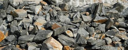 Free Pile Of Rocks I.E. Lithium Mining And Natural Resources Like Limestone Mining In Quarry. Natural Zeolite Rocks Are Excavated With Stock Images - 182364764