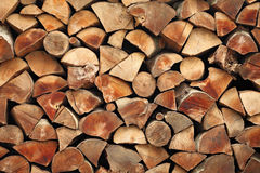 Pile Of Stacked Wood Logs Background Stock Photography