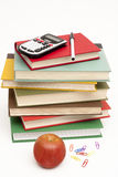 Pile Of Textbooks And Other School Supplies Royalty Free Stock Photography