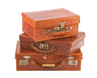 Pile Of Three Old Suitcases Stock Image