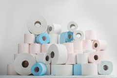 Free Pile Of Toilet Paper Rolls Royalty Free Stock Photography - 128258837