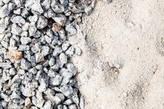 Pile Of White Sand And Small Gravel Stone Used As Construction Material