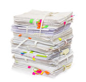Pile of official papers. With color stickers Royalty Free Stock Image