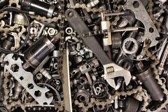 Pile of old bicycle parts and tools Royalty Free Stock Image