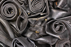 Pile of old bicycle rubber tire tubes.  royalty free stock photo