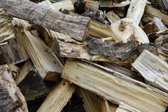 Pile of old birch and aspen firewood, firewood background, stock photos