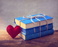 Pile of old blue books Royalty Free Stock Images