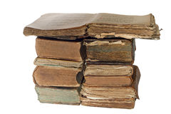 Pile of Old book isolated on white background with clipping path Royalty Free Stock Images