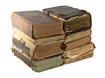 Pile of Old book isolated on white background with clipping path Stock Photography