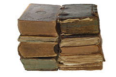 Pile of Old book isolated on white background with clipping path Stock Images