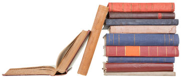 Pile of old books. On a white background Stock Images
