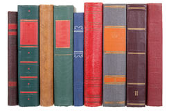 Pile of old books. On a white background Royalty Free Stock Photo