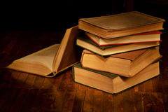 Pile of old books. Books for evening reading. Pile of old books Royalty Free Stock Image