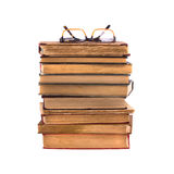 Pile of old books  isolated on white background. Royalty Free Stock Image