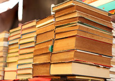 Pile of old books for sale stock image