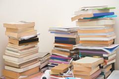 Pile old books on table Royalty Free Stock Image