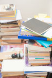 Pile old books on table Stock Image