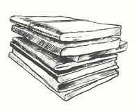 Pile old books vintage drawn vector sketch Stock Images