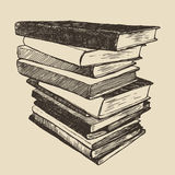 Pile old books vintage drawn vector sketch Royalty Free Stock Photo
