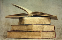 Pile of old books. Vintage photo royalty free stock photography