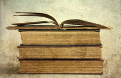 Pile of old books. Vintage photo royalty free stock photo