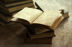 Pile of old books. Vintage photo stock image